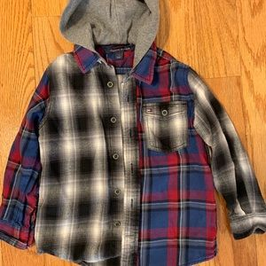 Tommy Hilfiger Checked Hooded Button Shirt